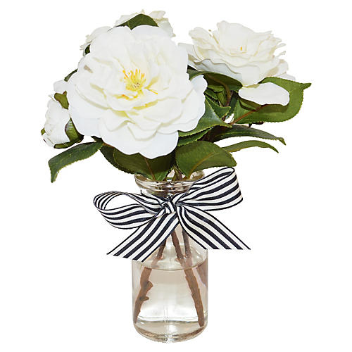 """9"""" Gardenias in Bottle, Faux"""