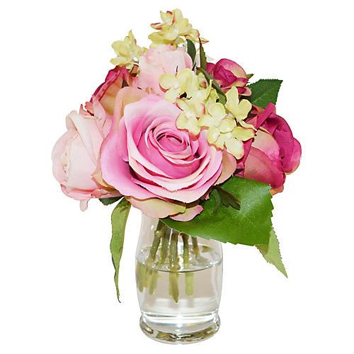 "8"" Roses & Hydrangea in Vase, Faux"