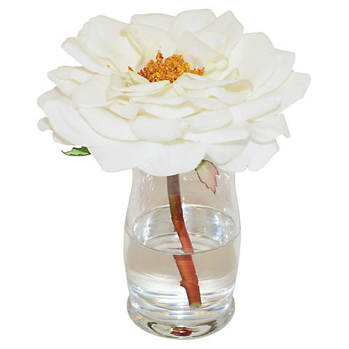 "6"" Bloomed Rose in Hourglass Vase, Faux"