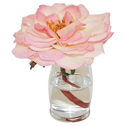 "6"" Rose in Hourglass Vase, Faux"