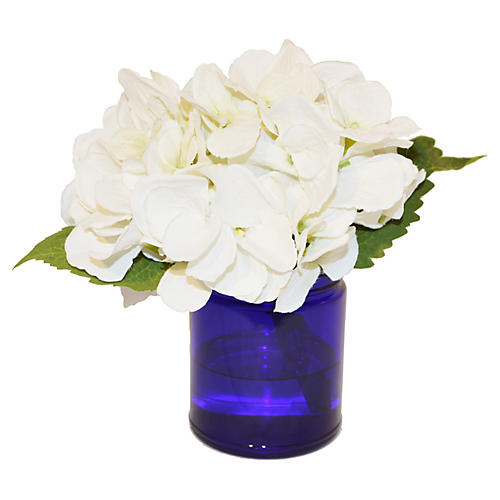 "7"" Hydrangea in Glass Vase, Faux"