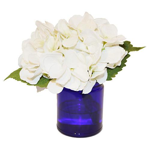 """7"""" Hydrangea in Glass Vase, Faux"""