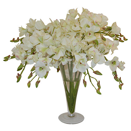 """20"""" Dendrobiums in Vase, Faux"""