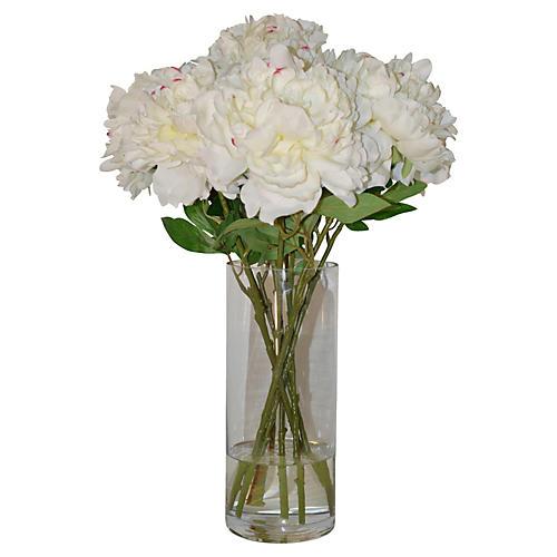 """24"""" Peonies in Vase, Faux"""
