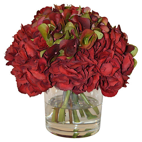 "12"" Hydrangea Mix in Flared Vase, Faux"
