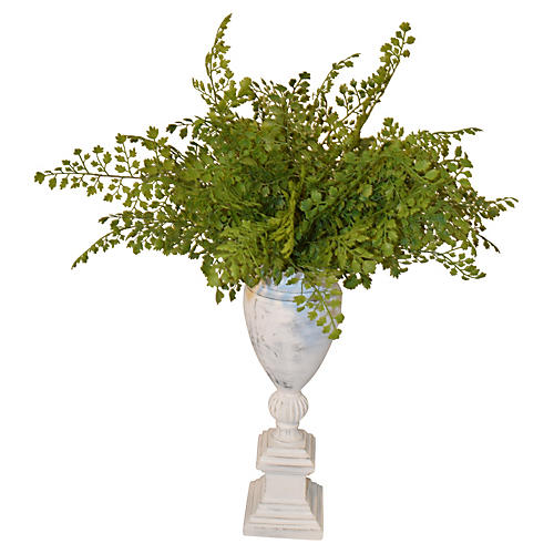 "20"" Fern in Pedestal Urn, Faux"
