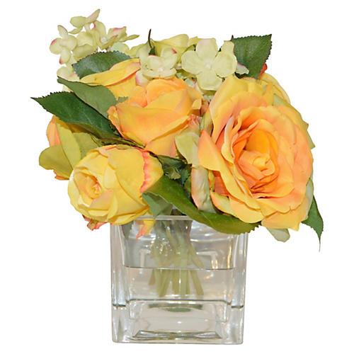 """8"""" Roses & Hydrangea in Cube, Faux"""