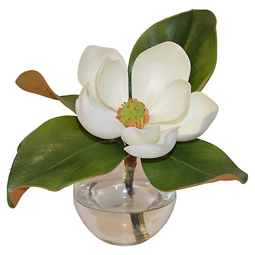 "11"" Magnolia in Vase, Faux"