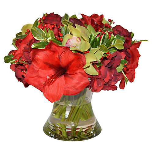"16"" Amaryllis Mix in Flared Vase, Faux"
