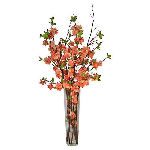 """22"""" Peach Blossoms In Glass Vase, Faux"""