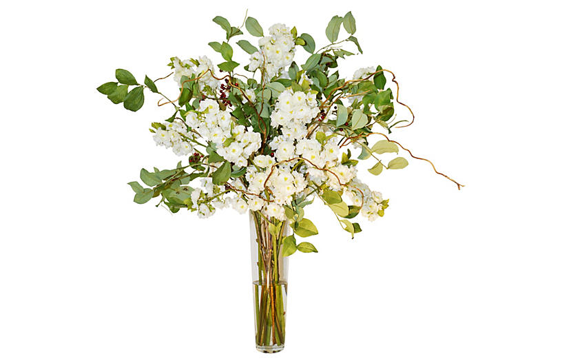 Blossom W/Berries In Glass Vase