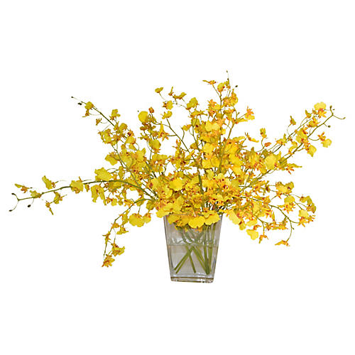 "18"" Oncidium Orchid In Glass Vase, Faux"