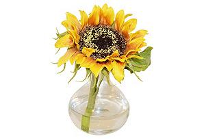 "8"" Sunflower in Bubble Vase, Faux*"