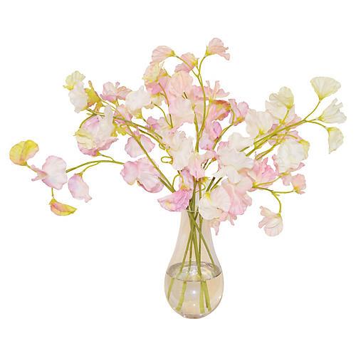 """16"""" Sweet Peas in Vase, Pink"""
