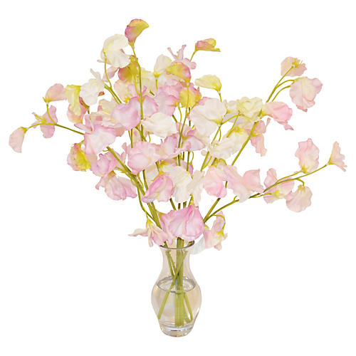 "15"" Sweet Peas in Vase, White"