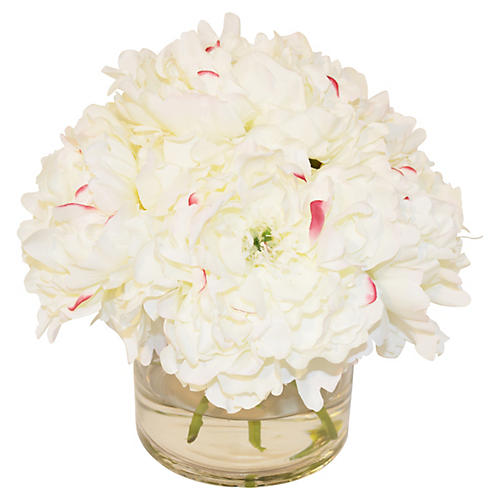 """11"""" Peony Pave in Cylinder, White"""