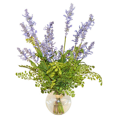 "17"" Lavenders & Fern in Bowl, Blue"