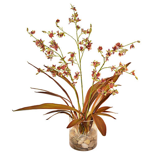 "33"" Orchid Plants in Rocks, Burgundy"