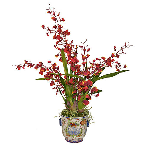 "18"" Oncidium in Italian Planter, Faux"