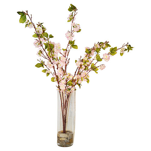 "43"" Apple Blossoms in Rocks, Pink"