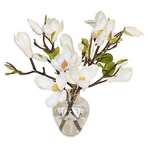 "14"" Magnolias In Glass Vase, White"