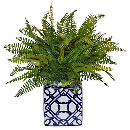 "19"" Sword Fern in Vase, Faux"