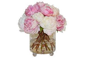 "14"" Peony Arrangement in Glass Vase"
