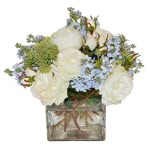 """14"""" Roses, Lilacs & Angelica Vase, Faux"""