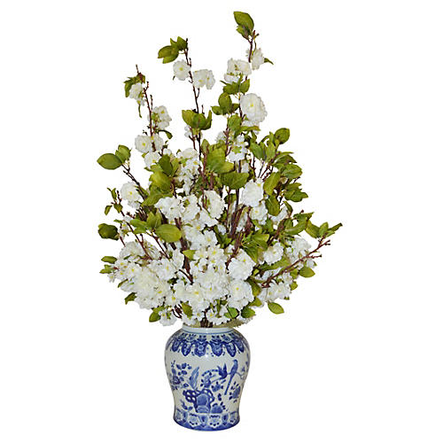 Cherry Blossom Arrangement in Vase, Faux