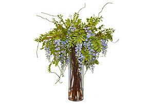 "50"" Wisteria Arrangement in Vase, Faux"