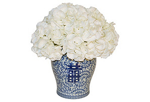 "19"" Hydrangea Arrangement in Vase, Faux"