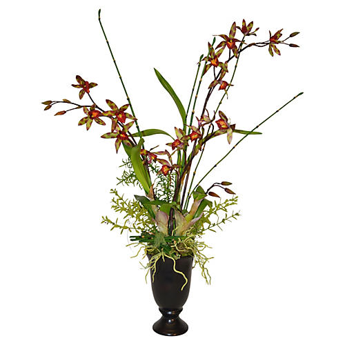 "28"" Orchid Arrangement in Vase, Faux"