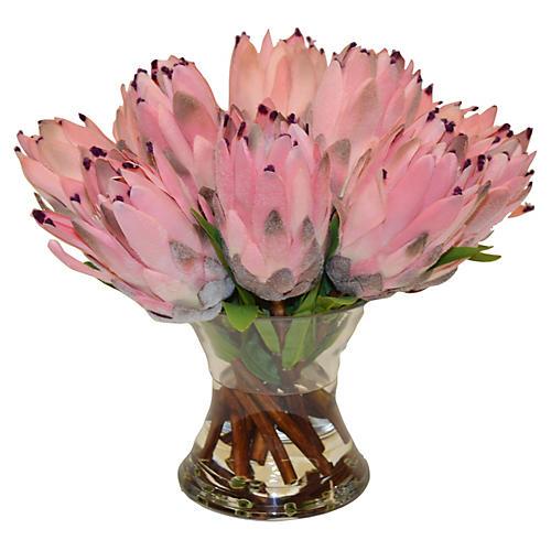 """12"""" Protea Bouquet in Vase, Faux"""