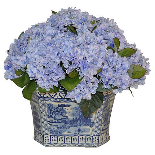 """19"""" Hydrangea Bouquet in Planter, Faux"""