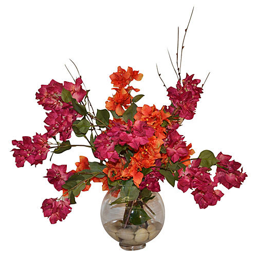 "23"" Bougainvillea Bouquet in Vase, Faux"