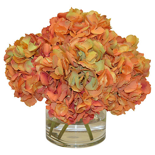 "15"" Hydrangea Bouquet in Vase, Faux"