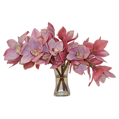 "14"" Cymbidium Orchids in Vase, Faux"