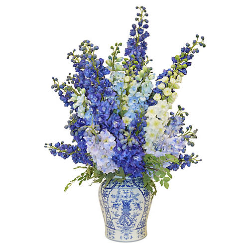 "43"" Delphinium Orchids in Vase, Faux"