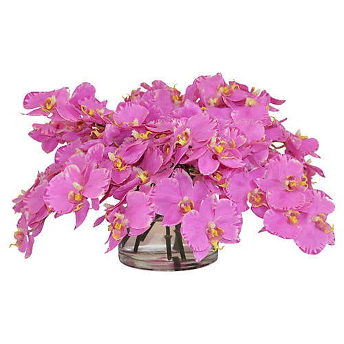 """17"""" Orchids Arrangement in Vase, Faux"""