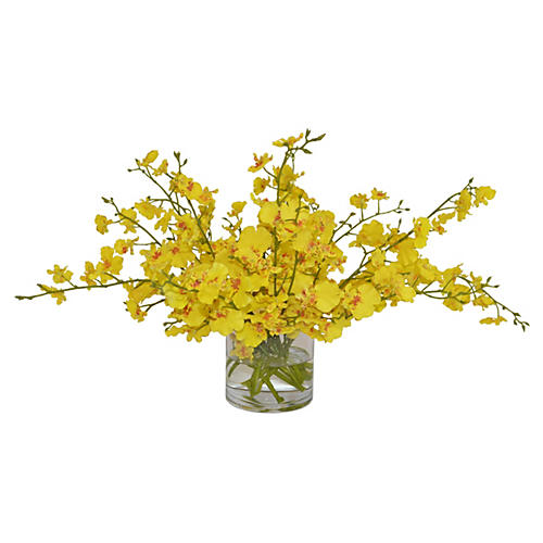 "24"" Yellow Orchids Arrangement , Faux"