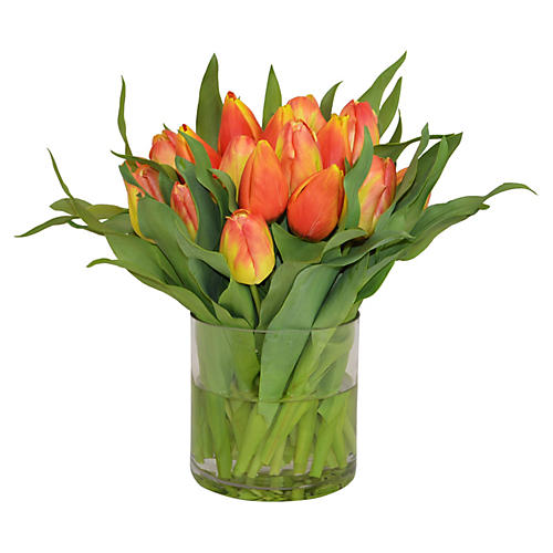 "19"" Tulip Arrangement in Vase, Faux"