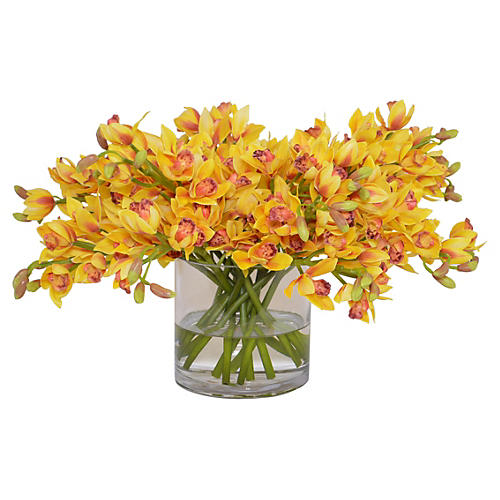 "17"" Cymbidium Orchid Arrangement, Faux"