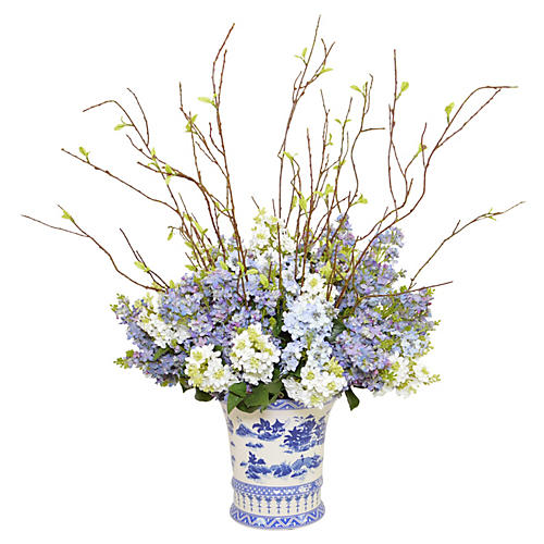 "36"" Delphinium Arrangement, Faux"