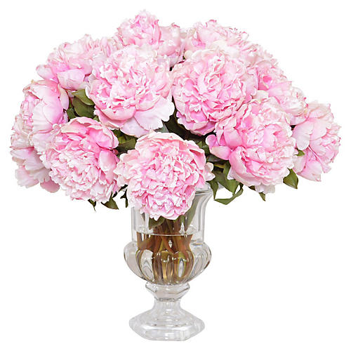 "21"" Pink Peony Arrangement in Urn, Faux"