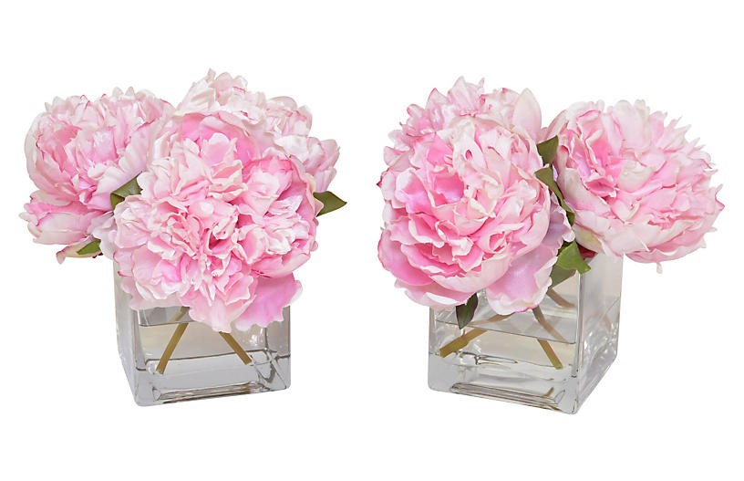S 2 9 Pink Peony Arrangements Faux Fl Greenery Home Accents Decor One Kings Lane