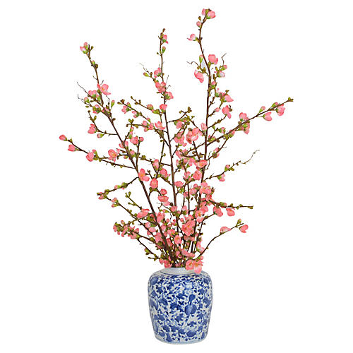 Pink Cherry Blossoms In Vase, Faux