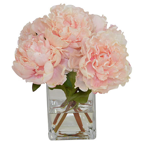 Pink Peonies in Glass Vase, Faux