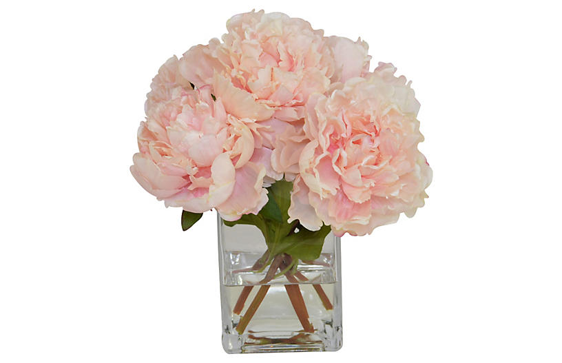 Lbl Alttext Altthumbnailimage The French Bee Pink Peonies In Gl Vase