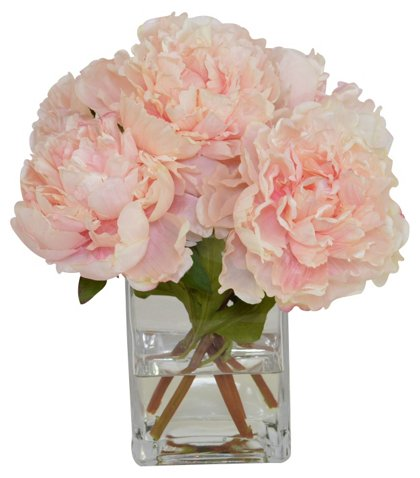 Pink Peonies In Glass Vase Faux Arrangements Floral Greenery