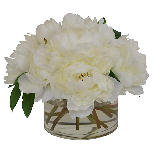 Cream Peonies in Glass Vase, Faux